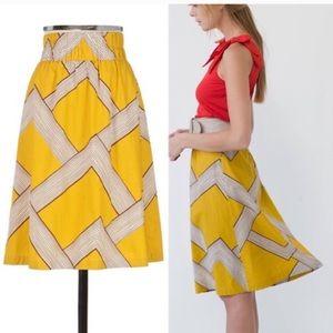 Anthro Barila Yellow Mid Century MidI Skirt S